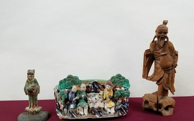 2 Carved Asian Figures and Ceramic Planter