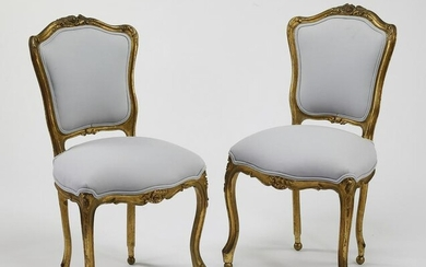 (2) Early 20th c. gilt chairs w/ new upholstery
