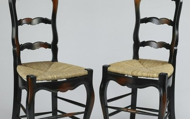 (2) French Provincial style ladder back barstools