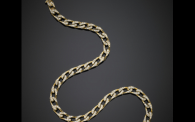 Yellow gold diamond accented chain necklace in all ct....