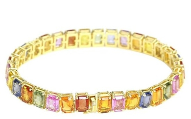 32.37 tcw Sapphire Natural Diamond Bracelet in 18K
