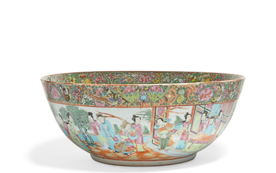 A Chinese Export famille rose porcelain punch bowl and a pair of Chinese Export famille rose porcelain vases