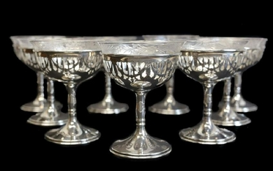 9 Gorham Sterling Silver Glass Lined Compotes