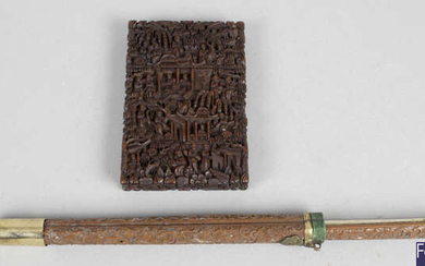 A 19th century Cantonese carved wooden visiting card case and cover, together with a similar trousse with original fitted knide and chopstick.