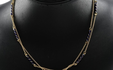 A BLUE ENAMEL NECKLACE BY FABOR IN 18CT GOLD
