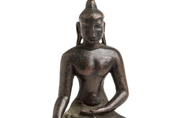A BRONZE FIGURE OF BUDDHA, PROBABLY BURMA, 19TH CENTURY...