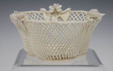 A Belleek three-strand Shamrock basket, late 19th/early 20th century, applied with different flowers