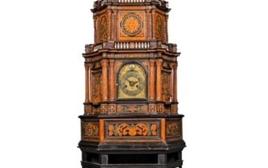 A CENTRAL ITALIAN MARQUETRY, EBONISED, PAINTED WOOD, BURR-WALNUT AND FRUITWOOD STRIKING TABLE CLOCK CABINET WITH ALARM, MID-18TH CENTURY, THE MOVEMENT SIGNED FRANCESCO GRASSO AND DATED 1758