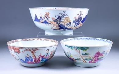 A Chinese Porcelain Bowl, 18th Century, painted in blue,...