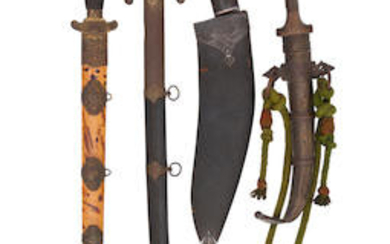 A Chinese Sword, A Turkish Sabre, A Nepalese Kukri, And A North African Jambiya, All 19th Century
