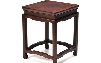 A Chinese hongmu and burlwood table-form stand