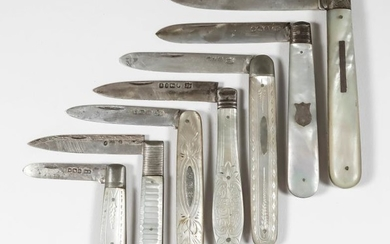A Collection of Silver Bladed and Mother-of-Pearl Handled Pen...