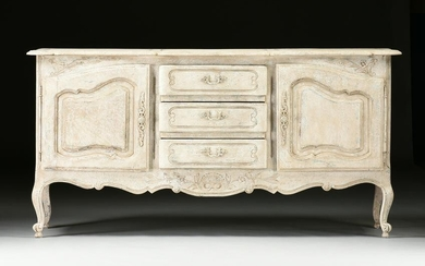 A FRENCH PROVINCIAL STYLE PAINTED WOOD CONSOLE CABINET
