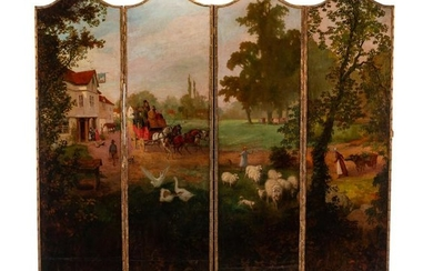 A French Painted Leather Four-Panel Floor Screen