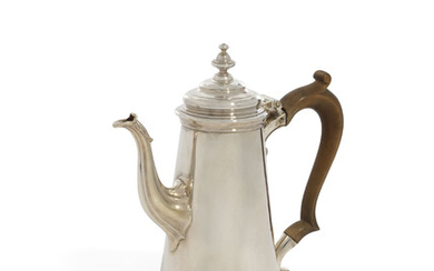 A GEORGE II SMALL SILVER COFFEE-POT, MARK OF GEORGE WICKES, LONDON, 1744