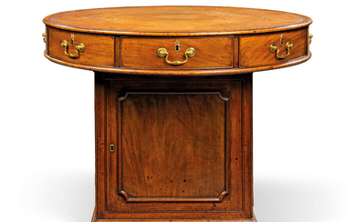 A GEORGE III MAHOGANY DRUM TABLE