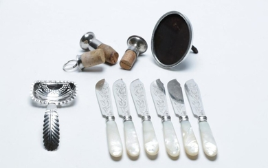 A Good Set of Dutch 833 Silver Fish Knives, Early Ladle (fault), Silver Frame, 1 Cork Stopper & Two Plated Examples