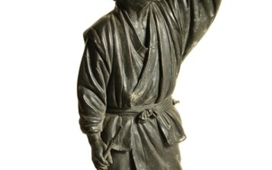 A Japanese bronze figure of a farmer