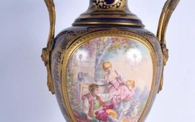 A LARGE 19TH CENTURY FRENCH TWIN HANDLED SEVRES