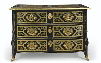 A LOUIS XIV ORMOLU-MOUNTED EBONY, BRASS AND PEWTER 'BOULLE' MARQUETRY COMMODE, LATE 17TH CENTURY
