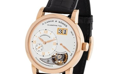 """A. Lange & Söhne. Very Desirable and Limited Edition """"lange 1 Tourbillon"""", No. 57 of 250 Tourbillon Power reserve Wristwatch in Pink Gold, Reference 704 032, With Box and Papers"""
