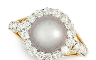 A NATURAL PEARL AND DIAMOND RING in yellow gold, set
