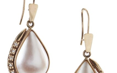 A PAIR OF MABE PEARL AND DIAMOND EARRINGS