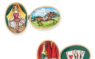 A PAIR OF NOVELTY ENAMEL CUFFLINKS depicting cards,