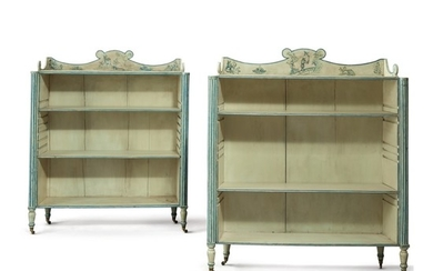 A PAIR OF REGENCY STYLE BLUE AND WHITE PAINTED ETAGERES