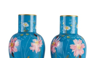 A PAIR OF SEVRES BLUE-GROUND VASES, DATED 1858