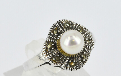 A PEARL AND MARCASITE DRESS RING