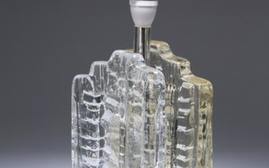 A PUKEBERG (SWEDEN) BRUTALIST GLACIER GLASS TABLE LAMP