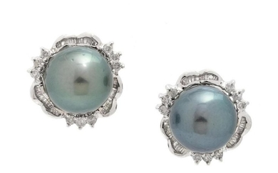A Pair of 14 Karat White Gold, Cultured Tahitian Pearl
