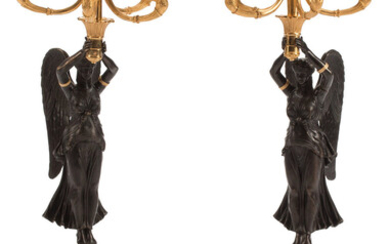 A Pair of Continental Empire-Style Gilt, Patinated Bronze, and Malachite Five-Light Candelabras