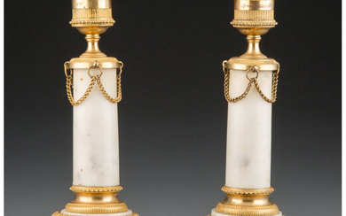 A Pair of French Empire-Style Marble Candlesticks with Gilt Bronze Mounts (19th century)