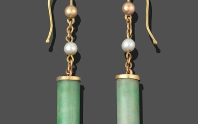 A Pair of Jade and Cultured Pearl Drop Earrings, jade...