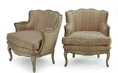A Pair of Louis XV Style Bergeres with Fortuny Fabric.