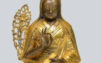 A Rare Gilt Bronze Figurine of The First Dalai Lama Gedun Drupa, Tibet, 17-18th Century.