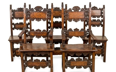 A Set of Five Italian Various Woods Inlaid Chairs