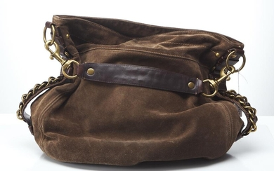 A TOTE BY COACH BAG - Styled in brown suede with brown leather trim and bronze tone metal hardware, 40 x 40 x 10cm.