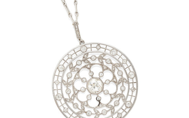 A Turn of the Century Platinum and Diamond Pendant Necklace