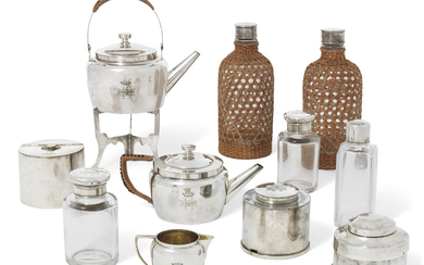 A VICTORIAN SILVER AND SILVER-PLATED TEN-PIECE CAMPAIGN DRINKS SET, LATE 19TH CENTURY