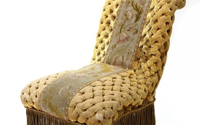A Victorian button upholstered slipper chair