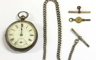 A Victorian sterling silver Waltham key wound open-faced pocket watch