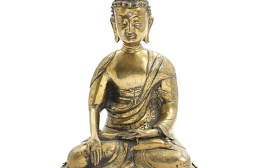 NOT SOLD. A bronze figure of Buddha with glass Urna, seated in at pierced lotus...