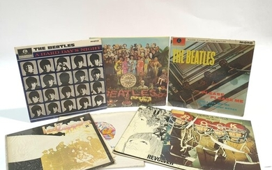 A collection of The Beatles and Led Zeppelin LPs to include ...