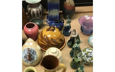 A collection of various studio pottery wares to include an H...
