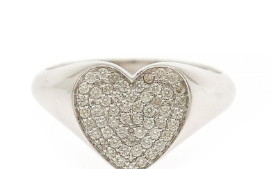 A heart ring set with numerous brilliant-cut diamonds totalling app. 0.27 ct., mounted in 18k white gold. Size app. 52.5.