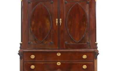 A large North German mahogany wardrobe with numerous drawers. Bremen, late 18th century. H. 215 cm. W. 170 cm. D. 55 cm.