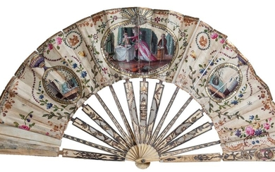 A late 18th Century Spanish fan with ivory...